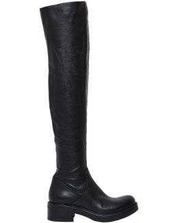 30mm Stretch Leather Over The Knee Boots