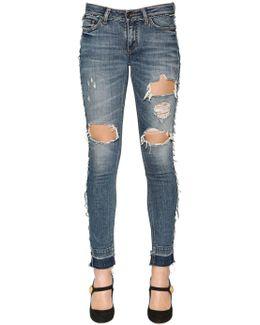 Ripped Cotton Denim Jeans