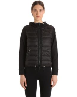 Hooded Nylon & French Terry Down Jacket