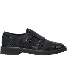 Zipped Camo Monk Strap Shoes