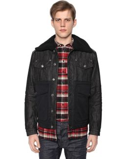 Denim & Nylon Down Jacket W/ Shearling