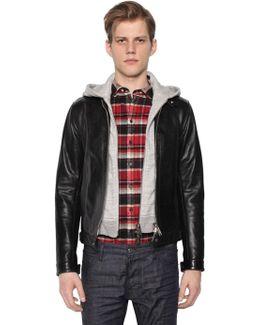 Biker Leather Jacket W/ Jersey Hood