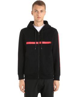 Hooded Printed Neoprene Sweatshirt
