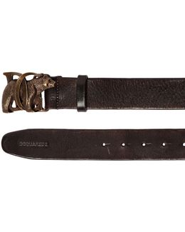 40mm Leather Belt W/ Bear Buckle