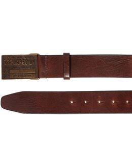 40mm Leather Belt W/ Logo Buckle