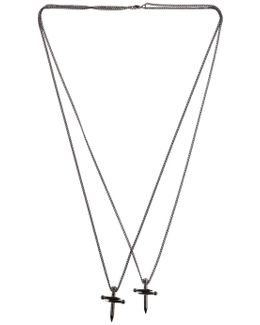 Double Nail Cross Metal Necklace