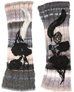 Embroidered Fingerless Wool Knit Gloves