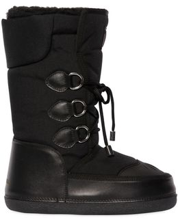 Nylon & Leather Snow Boots
