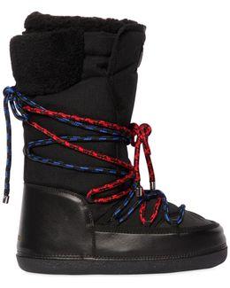Nylon Ski Snow Boots W/ Two Tone Laces