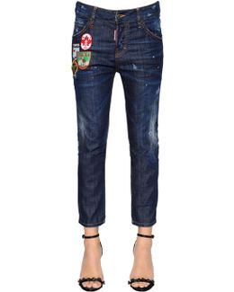 Red Spots Cool Girl Cropped Denim Jeans