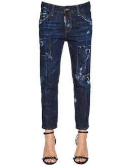 Scratched Cool Girl Cropped Denim Jeans