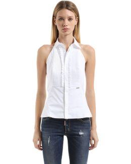 Halter Neck Frilled Cotton Poplin Shirt
