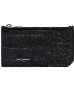Croc Embossed Leather Zip Card Holder