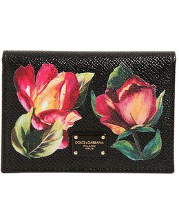 Floral Embossed Leather Card Holder