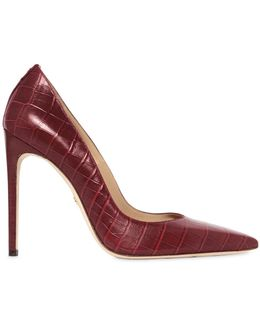 110mm Croc Embossed Leather Pumps