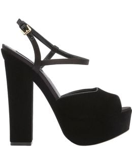 150mm Velvet Platform Sandals