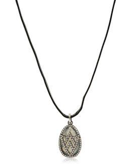 Chevron Shield Diamond Pendant Necklace