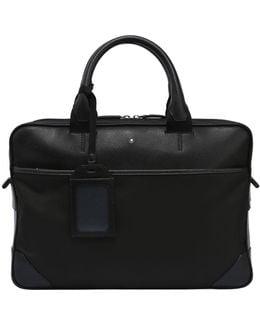 Slim Sartorial Jet Leather & Nylon Case