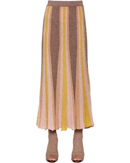 Ribbed Lamé Midi Skirt