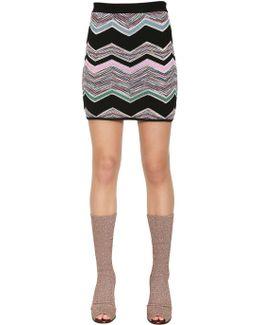 Zigzag Wool Blend Jacquard Mini Skirt