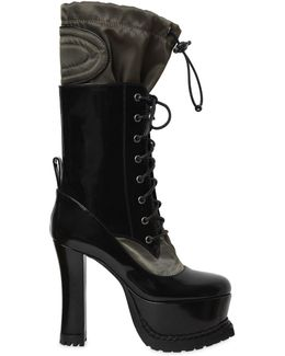 120mm Brushed Leather & Nylon Boots