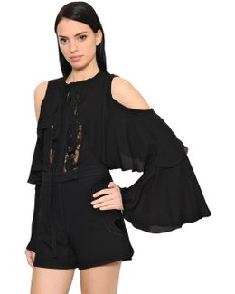Cold Shoulder Georgette & Lace Shirt