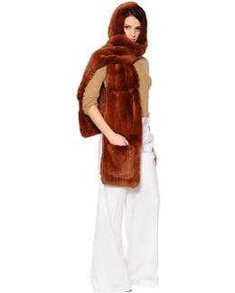 Rex Rabbit Fur Hooded Scarf W/ Pockets