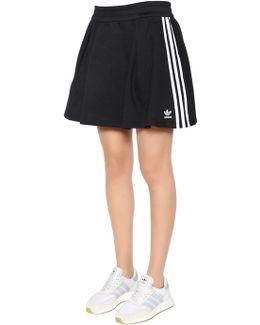 3 Stripes Flared Cotton Blend Skirt
