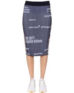 Graphic Stretch Nylon Jacquard Skirt