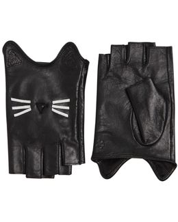 K/paris Leather Fingerless Gloves