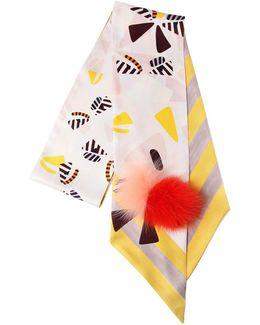 Maxi Wrappy Silk Scarf W/ Fox Fur Pompom