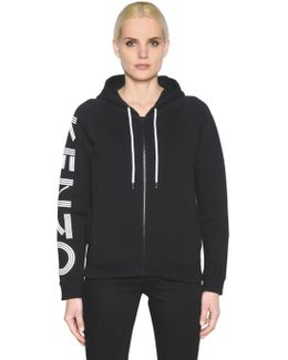 Hooded Zip-up Cotton Jersey Sweatshirt