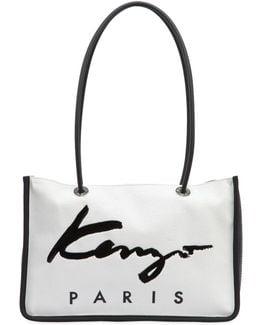 Logo Nylon & Cotton Canvas Tote Bag