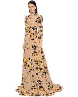 Print Crepe De Chine Dress W/ Open Back