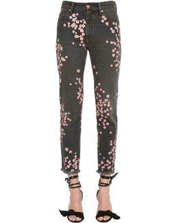 Floral Embroidered Cotton Denim Jeans