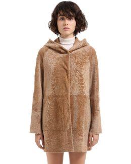 Reversible Hooded Shearling Coat