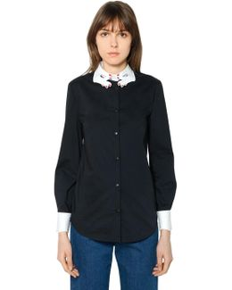 Embroidered Collar Cotton Poplin Shirt