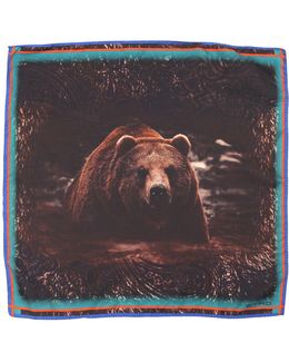 Bear Printed Silk Satin Pocket Square