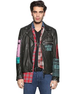 Leather Biker Jacket W/ Patches & Studs