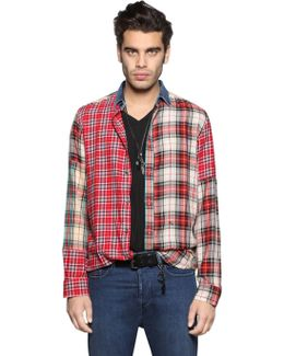 Patchwork Cotton & Viscose Flannel Shirt