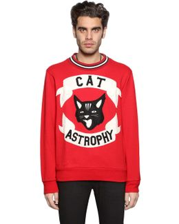 Cat Astrophy Patches Cotton Sweatshirt