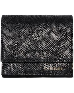 Snake Embossed Leather Flap Wallet