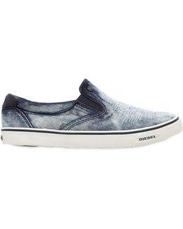 Ripped Denim Slip-on Sneakers