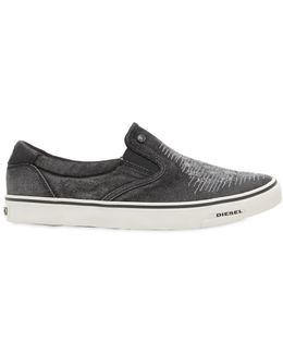Dark Wash Ripped Denim Slip-on Sneakers