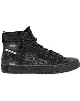 Dark Wash Ripped Denim Mid Top Sneakers