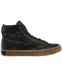 Waxed Leather Mid Top Sneakers