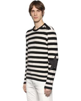 Striped Wool Sweater W/ Star Patches