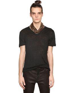 V Neck Linen Jersey T-shirt