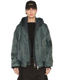 Nylon Bomber Jacket W/ Jersey Hood