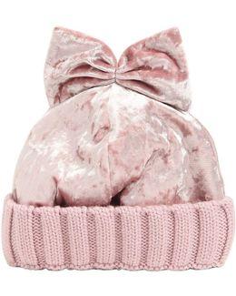 Velvet & Wool Knit Beanie Hat W/ Bow